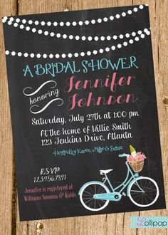 Vintage Chalkboard Bridal Shower Printable Party Invitation, Personalized Chalkboard Bridal Shower Invite