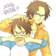 Ace, Luffy, brothers, text, akanbe, glasses, cute, young, childhood; One Piece