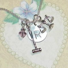 Lawyers Hand Stamped Sterling Silver Initial Charm Necklace by DolphinMoonCreations