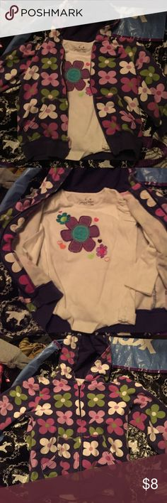 Jacket and shirt set Very cute jacket with shirt two different brands but it matches perfect the jacket is a Carter size 4t and the shirt underneath is longsleeve and that's a four Carter's Shirts & Tops