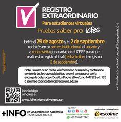 @Escolmeeduco ¡Estudiante virtual no olvides realizar el Registro Extraordinario para las pruebas saber pro!