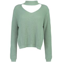 Boohoo Ella Choker Strap V Neck Jumper (235 HKD) ❤ liked on Polyvore featuring tops, sweaters, chunky sweaters, green sweater, green v neck sweater, v-neck sweater and sequined sweater