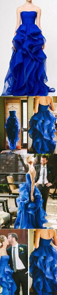 High Low Royal Blue Wedding Dresses Organza Prom Gowns Strapless Evening Dresses For Teens Brides