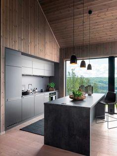 Mountain Home Interiors, Cottage Interiors, Cabin Design, House Design, Industrial Dining, Modern Industrial, Scandinavia House, Modern Cabin Interior, Modern Villa Design