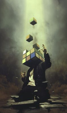 Rumination by xetobyte. #Surrealism Rubic Cube. Not good for my #wanderlust.