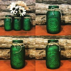 My favorite color! I love the look of these green jars I finished yesterday! The color came our so rich and the light distressing gave them a cool rustic look. Great for most any decor. And remember.I will custom paint jars just for you! Green Mason Jars, Rustic Mason Jars, St Patrick's Day Decorations, Mason Jar Centerpieces, Painted Jars, Do It Yourself Crafts, Decorated Jars, Crafts To Make And Sell, Mason Jar Crafts