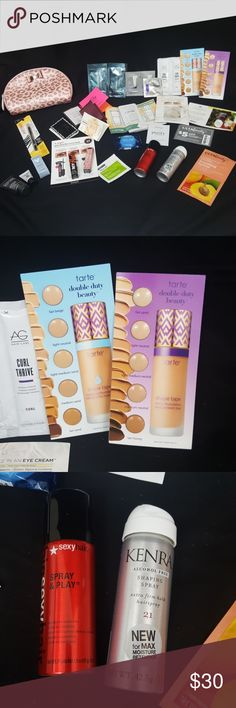 """20+ PC SAMPLE BUNDLE WITH CUTE BAG Brand new Not selling separate  Includes $5 off coupon from ULTA valid in store and online until 2/1/2019 Also comes with cute makeup bag """"pink glitter cheetah design"""" as pictured   Brands include: ULTA beauty Benefit  Kate spade Dermalogica Lancome Tarte Mac Pure grace Burts bees Daisy - marc Jacobs Ofra BigsexyHair Philosophy Origins It cosmetics Clinique for men Vichy Murad  Negotiations only through offer button Please no low balling Bundle your likes…"""