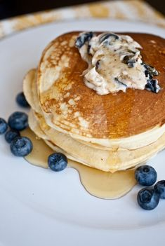 These simple pancakes are topped with blueberry butter!  Yes, blueberry infused butter.  YUM. // Not Without Salt Blueberry Pancakes, Blueberry Recipes, Cooking Pancakes, Butter Pancakes, Pancakes And Waffles, Fluffy Pancakes, Panes, Brunch Recipes, Breakfast Recipes