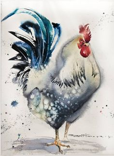 White rooster №1, a Watercolor on Paper by Olga Flerova from Russia. It portrays: Nature, relevant to: bird, rooster, birds, watercolor, hen, nature SOLD to client from Moscow (Russia) Materials: paper-Arches fin 300gr, watercolors- Winsor&Newton Watercolor technique: wet-in-wet Made in 2015 as part of a series of roosters with different shapes and textures.