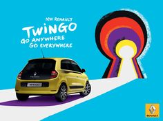 "Campaign: New Twingo ""Go Anywhere, go everywhere"" / Renault Agency: Publicis Conseil Illustrators: Kuntzel+Deygas Poster Ads, Car Posters, Ads Creative, Creative Advertising, Creative Design, Car Advertising, Advertising Design, Marketing, Car Banner"