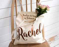 Wedding Thank you Gift Personalised Bridesmaid Gift Tote Bag