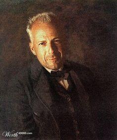 Bruce Willis - Celebrities in Renaissance Renaissance Portraits, Renaissance Artists, Renaissance Paintings, Bruce Willis, Paul Gauguin, Face Replace, Pop Art, Funny Paintings, Hugh Laurie