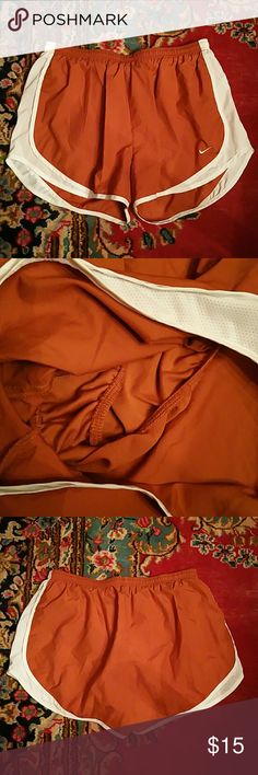 Rust Nike Running Shorts with White Trim XL Like new, inner lining as shown in second pic. Great deal! Nike Shorts