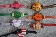 Baby Holiday Headbands for all year Valentine's, St Patrick's, Easter, Halloween, Thanksgiving, Christmas on Etsy, $42.00