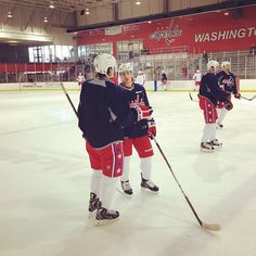 Photo by washingtoncaps - #Caps defenseman Steve Oleksy talks with Tomas Kundratek at today's morning skate. Oleksy was signed and recalled from Hershey yesterday