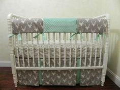 Deer Crib Bedding Set in Gray and Mint - Bumperless Crib Bedding, Neutral Baby Bedding, Boy Baby Bedding