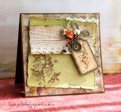 love the earth tone colors of this card & tag embellishments