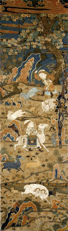 One exhibit features three rare pieces from the Tang dynasty, a Song dynasty tapestry scroll cover and Yuan dynasty examples of cloth woven with gold thread.