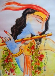 BANSI DHAARI - Creative Art in Painting by Shilpi Das Choudhury in Portfolio My PAINTINGS in various Mediums.. at Touchtalent