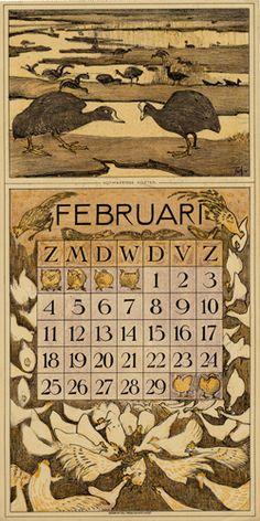 Theodoor van Hoytema, calendar 1912 February