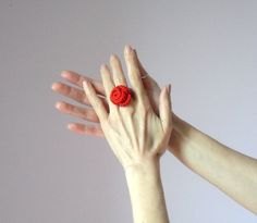Crocheted Rose Ring Flower Cotton Red Adjustable by Silvia66