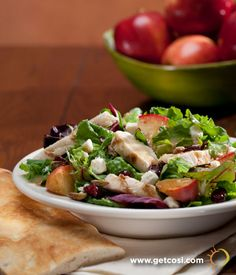 Cosi Autumn Apple Chicken Salad with homemade, hearth-roasted cinnamon sugar apples. Available until 10/29/12.