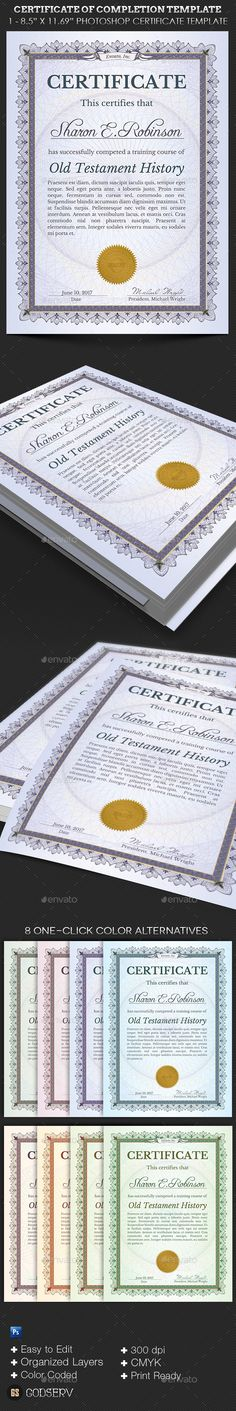 The 23 best Certificate of Completion images on Pinterest in 2018 Buy Certificate of Completion Template by Godserv on GraphicRiver   Certificate of Completion Template is great for any type of certificate or  diploma