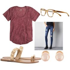 A fashion look from August 2015 featuring J.Crew t-shirts, American Eagle Outfitters jeans and Tory Burch sandals. Browse and shop related looks.