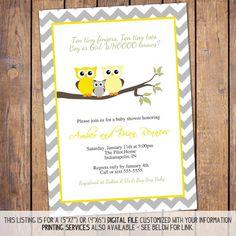 owl baby shower invitations gender neutral by JoyPribishDesigns