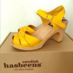 Peep toe high Swedish hasbeens yellow Selling these fab Swedish Hasbeens! I only wore them 3 times, in great condition. Swedish Hasbeens Shoes Platforms