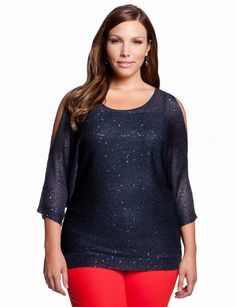 Keyhole Sequin Sweater | Plus Size Sweaters & Cardigans | eloquii by THE LIMITED