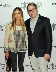 Big Apple couple: Sarah's husband Matthew Broderick is currently starring on Broadway in It's Only A Play; seen above, they posed at the Tribeca Film Festival in April