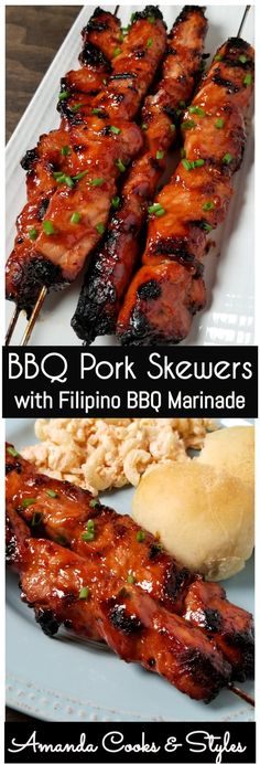 BBQ Pork Skewers in a sticky, sweet, and spicy Filipino style BBQ marinade. This grilled pork is one of my favorite things to grill on the barbecue. BBQ Pork Skewers with Filipino BBQ Marinade - BBQ Pork Skewers with Filipino BBQ Marinade - Amanda Cooks & Pork Chop Recipes, Meat Recipes, Asian Recipes, Dinner Recipes, Cooking Recipes, Pork Marinade Recipes, Bbq Dinner Ideas, Bbq Food Ideas, Cooking Tips