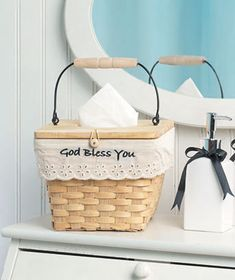 Turn your box of tissues into a country-inspired decoration with this Basket Tissue Box Holder. Charming piece looks like a small basket with woven wood constru Tissue Box Holder, Tissue Boxes, Decorative Storage Bins, Home Storage Solutions, Ltd Commodities, Shop Storage, Affordable Bedding, Lakeside Collection, Bedding Shop