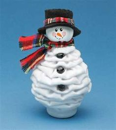 """Snowman of fuxico(? The base of the doll is of bottle cap pet, the little face stuffed with cotton wool.A base do boneco é de tampinha de garrafa pet, o rostinho fuxico recheado de algodão. Quilted Christmas Ornaments, Fabric Ornaments, Christmas Sewing, Christmas Items, Christmas Snowman, Christmas Projects, Handmade Christmas, Christmas Decorations, Snowman Crafts"