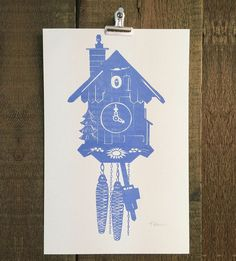 Graphic Design - Graphic Design Ideas  - Cuckoo Clock Risograph Art Print by Troy Cloth & Paper on Scoutmob   Graphic Design Ideas :     – Picture :     – Description  Cuckoo Clock Risograph Art Print by Troy Cloth & Paper on Scoutmob  -Read More –