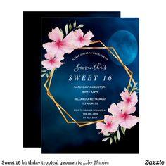 Shop Sweet 16 birthday tropical geometric blue sky moon invitation created by Thunes. Postcard Wedding Invitation, Summer Wedding Invitations, Birthday Invitations, Invitation Ideas, Shower Invitations, 40th Birthday Parties, Sweet 16 Birthday, 80th Birthday, Fortieth Birthday