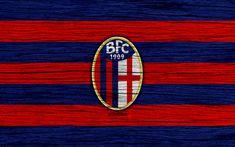 Download wallpapers Bologna, 4k, Serie A, logo, Italy, wooden texture, FC Bologna, soccer, football, Bologna FC