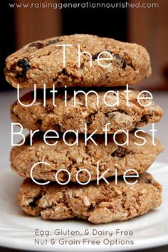 The Ultimate Breakfast Cookie :: Dairy, Egg, Gluten & Refined Sugar Free :: Nut & Grain Free Options - Raising Generation Nourished FOR IC - Try dried blueberries for the fruit and hold the cinnamon if it bothers you. I recommend the grain-free version. Gluten Free Breakfasts, Gluten Free Desserts, Healthy Desserts, Galletas Paleo, Sugar Free Recipes, Paleo Dessert, Paleo Breakfast Cookies, Vegan Breakfast, Foods With Gluten