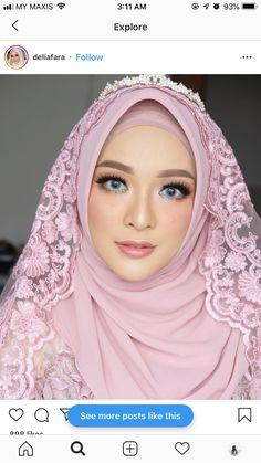 Muslimah Wedding Dress, Muslim Wedding Dresses, Muslim Brides, Bridal Hijab, Hijab Bride, Wedding Poses, Wedding Photoshoot, Wedding Hijab Styles, Sweet Makeup