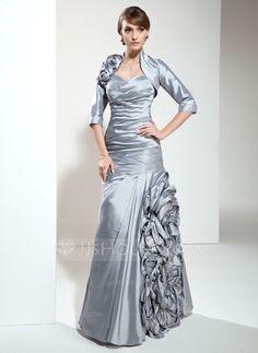A-Line/Princess Sweetheart Floor-Length Taffeta Mother of the Bride Dress With Ruffle Flower(s) (008006495) - JJsHouse