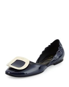 Ballerine Chips Patent Leather d\'Orsay Flat, Navy by Roger Vivier at Neiman Marcus.