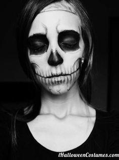 half-face face paint / Halloween makeup: skull vs. butterfly | by ...