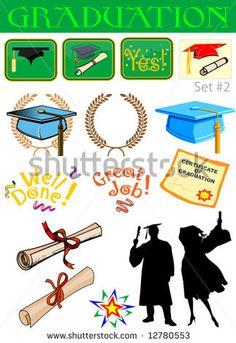 Vector graduation related illustrations set #2 by IndianSummer, via ShutterStock
