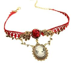 Necklaces Pendants Vintage Choker New Stylish Cameo Red Rose Lace Fashion Jewelry Women Gift Xmas Pendant 2018 Long Choker Necklace, Heart Choker, Diamond Solitaire Necklace, Dainty Necklace, Dainty Jewelry, Pendant Necklace, Gold Jewelry, Fashion Jewelry Necklaces, Fashion Styles