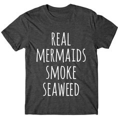 Metallic Gold Real Mermaids Smoke Seaweed Graphic Tshirt Womens Tee... ($14) ❤ liked on Polyvore featuring tops, t-shirts, black, women's clothing, pattern t shirt, neon t shirts, metallic gold shirt, print shirts and fluorescent t shirts