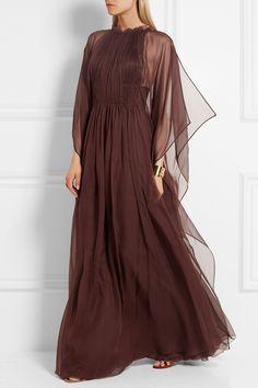 Valentino | Plissé silk-chiffon gown | NET-A-PORTER.COM