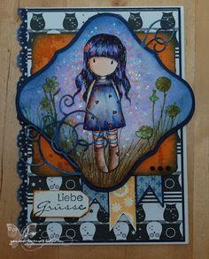 Gorjuss Girl, Karte, Eulen, handgemacht, Coloration, Washi Tape, Card, DIY, Craft, hand - crafted, blau, orange, Card, blue, orange, Geburtstag, Grüße, Geburtstagskarte, Grußkarte, birthday card,