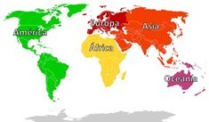 Mapa con los 5 continentes del mundo