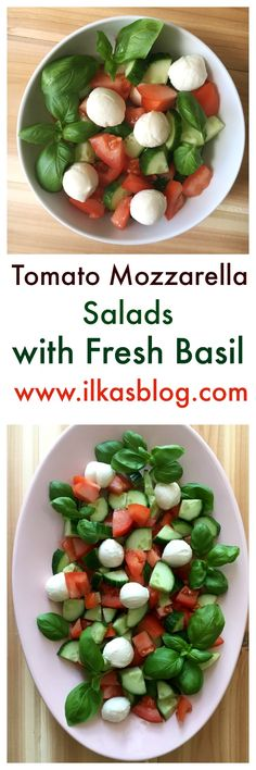 Tomato Mozzarella Salad with Cucumbers and Fresh Basil is a great refreshing and delicious Summer salad. Perfect for outdoor picnics and parties. A great Italian Classic, California-Style Caprese Salad!